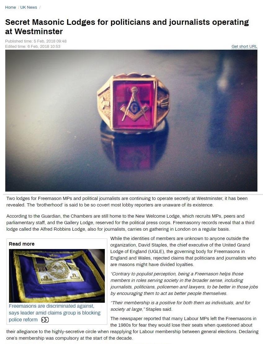 Secret Masonic Lodges at Westminster