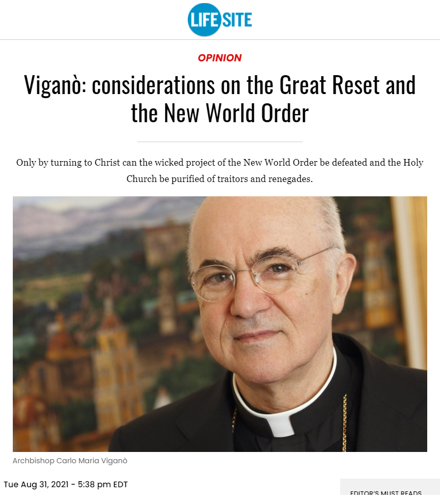 Viganò- considerations on the Great Reset and the New World Order